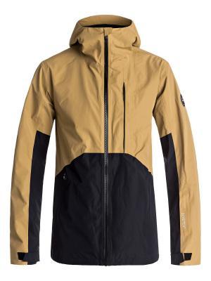 Куртка Quiksilver. Цвет: золотистый, светло-бежевый, черный