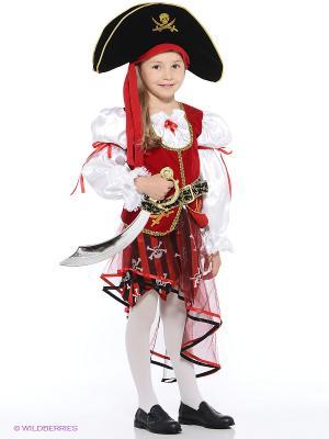 Карнавальный костюм Пиратка Батик. Цвет: бордовый