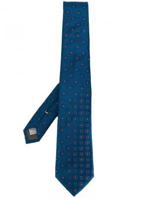 Галстук с цветочной вышивкой Canali. Цвет: синий