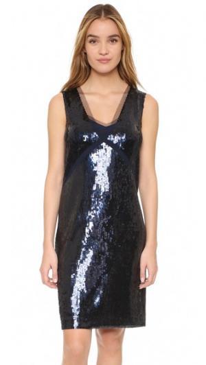Платье с блестками Allover DKNY. Цвет: арктический темно-синий