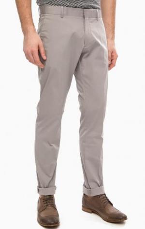 Легкие хлопковые брюки на молнии серого цвета Antony Morato. Цвет: серый