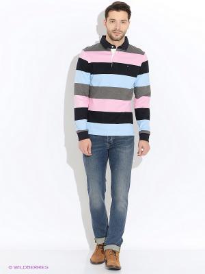 Лонгслив-поло Eden Park. Цвет: темно-синий, серый, голубой, розовый