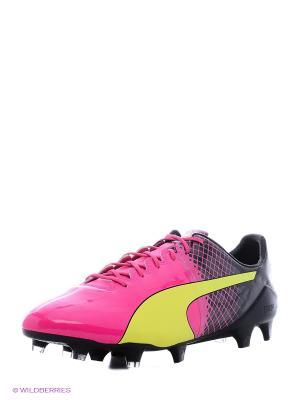 Бутсы evoSPEED 1.5 FG pink glo-safet Puma. Цвет: черный, розовый, желтый