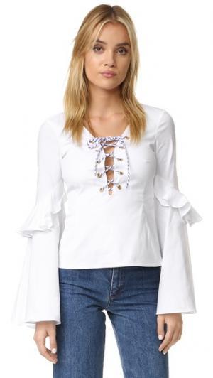 Блуза Anastasia на шнуровке Caroline Constas. Цвет: белый