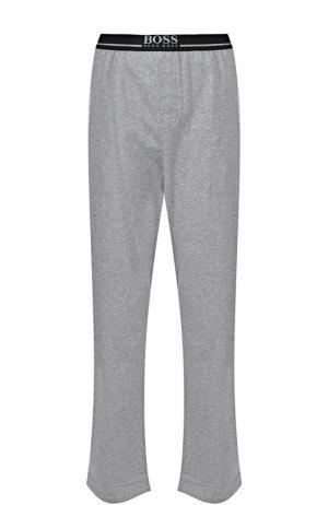 Хлопковые домашние брюки свободного кроя BOSS. Цвет: серый