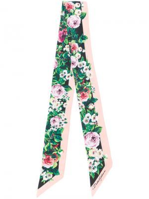 Платок с цветочным принтом Dolce & Gabbana. Цвет: зелёный