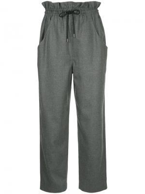 Прямые брюки на шнурке En Route. Цвет: серый