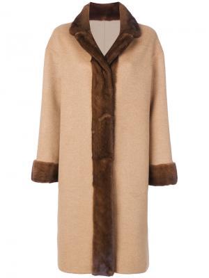 Пальто Olga с лисьим мехом Liska. Цвет: коричневый