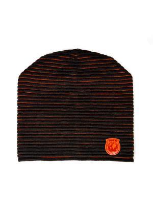 Шапка Loman. Цвет: темно-коричневый, оранжевый