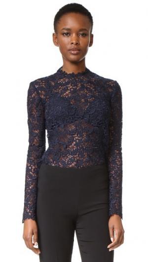 Блуза с длинными рукавами Monique Lhuillier. Цвет: темно-синий