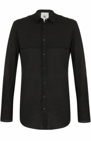 Рубашка асимметричного кроя из смеси льна и хлопка Lost&Found. Цвет: черный