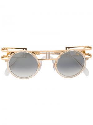 Солнцезащитные очки в круглой оправе Cazal. Цвет: металлический