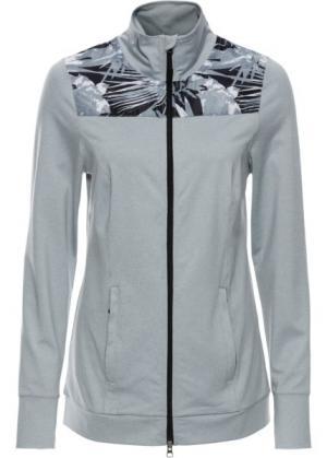 Легкая спортивная куртка с контрастными вставками (серебристо-серый меланж) bonprix. Цвет: серебристо-серый меланж
