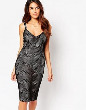Lipstick Boutique Платье миди с верхним слоем-паутинкой Jenny. Цвет: черный