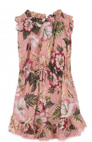 Пляжное мини-платье из хлопка с принтом Zimmermann. Цвет: розовый