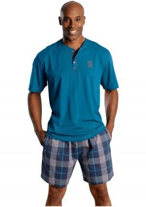 Пижама с шортами H.I.S.. Цвет: зелено-синий, красный