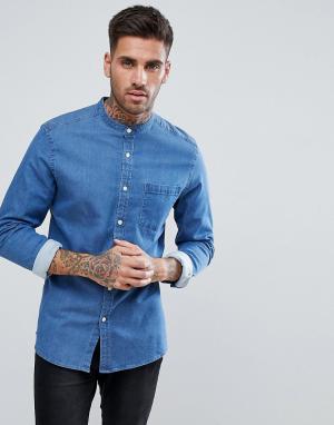 ASOS Зауженная джинсовая рубашка с воротом на пуговице. Цвет: синий