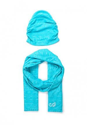Комплект шапка и шарф Sahera Rahmani. Цвет: бирюзовый