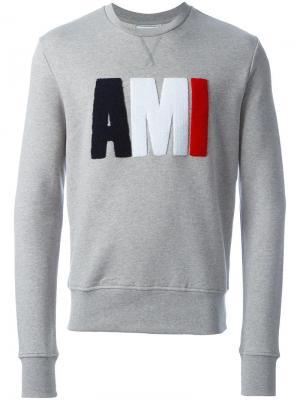 Толстовка с логотипом Ami Alexandre Mattiussi. Цвет: серый