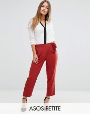 ASOS Petite Тканые брюки галифе с завязкой. Цвет: розовый