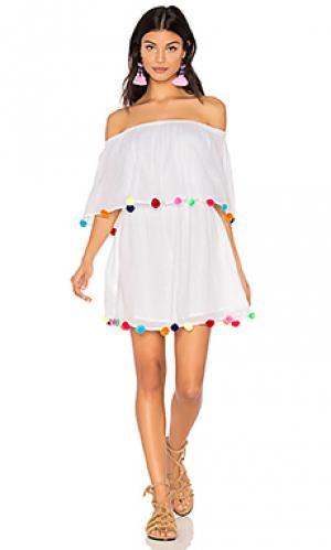 Фестивальное платье с помпонами Pitusa. Цвет: белый