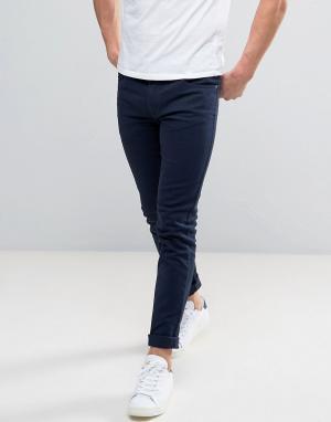 Farah Темно-синие саржевые джинсы слим Drake. Цвет: синий