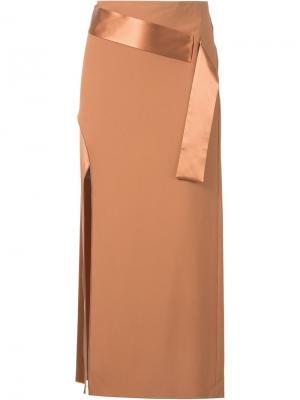 Юбка с декоративным поясом Dion Lee. Цвет: коричневый