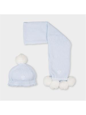 Комплект из шапки и шарфа Tutto Piccolo. Цвет: светло-голубой