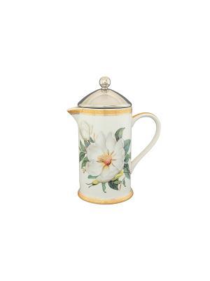 Чайник с поршнем Белый шиповник Elan Gallery. Цвет: белый, зеленый