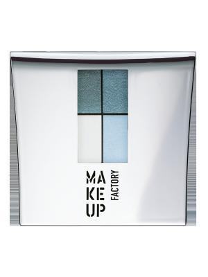 Тени для век 4-х цветные Eye Colors №33 Make up factory. Цвет: синий, бирюзовый, салатовый, белый