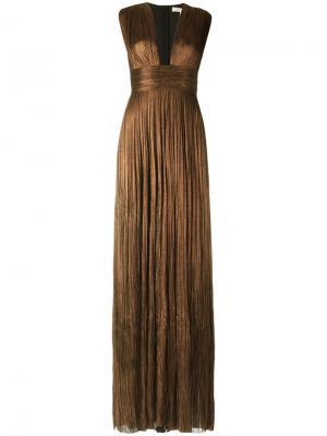 Плиссированное вечернее платье Maria Lucia Hohan. Цвет: металлический
