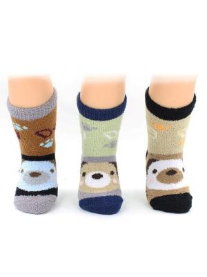 Носки махровые, 3 пары HOBBY LINE. Цвет: бежевый, бирюзовый, коричневый