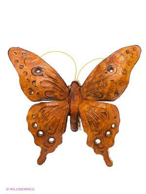 Брошь Бабочка Мастер ГРиСС. Цвет: коричневый, желтый
