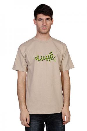 Футболка  Handwritten Leaf Camo Sand Cliche. Цвет: бежевый,камуфляжный