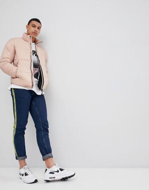 Pull&Bear Розовая дутая куртка. Цвет: розовый