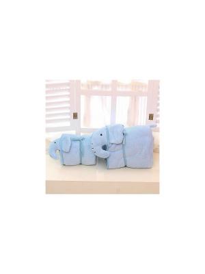 Плед-трансформер с завязками Слоненок Kawaii Factory. Цвет: голубой