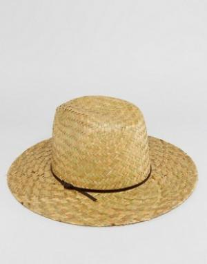Catarzi Соломенная шляпа с кожаной тесьмой. Цвет: бежевый
