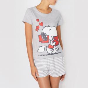 Пижама с шортами Snoopy. Цвет: серый/в полоску