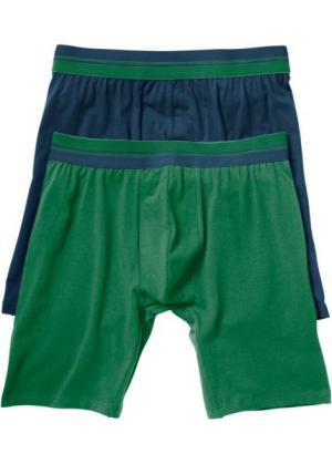 Длинные трусы-боксеры (2 шт.) (темно-синий/зеленый) bonprix. Цвет: темно-синий/зеленый
