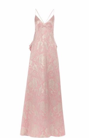 Платье-макси с вышивкой и оборками Rochas. Цвет: розовый