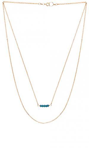 Двойное ожерелье edith Mimi & Lu. Цвет: металлический золотой