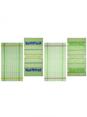 Набор полотенец из 4-х штук Садовый-4 Белорусский Лен. Цвет: зеленый, желтый, серый
