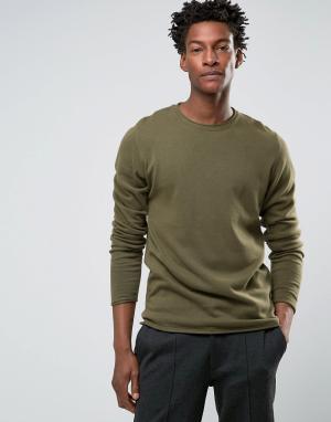 Troy Джемпер с круглым вырезом Roll Edge. Цвет: зеленый