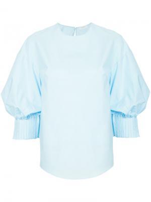 Рубашка со складками на манжетах Delpozo. Цвет: синий