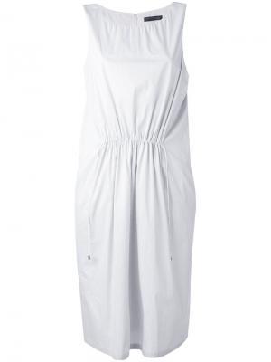 Присборенное платье миди Fabiana Filippi. Цвет: белый