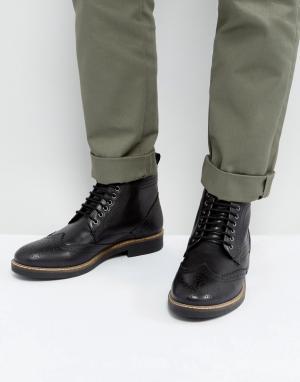 Frank Wright Черные кожаные броги. Цвет: черный