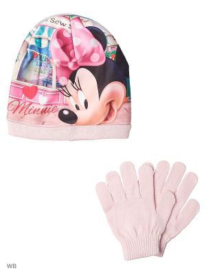 Комплект шапка и перчатки Sun City. Цвет: бледно-розовый