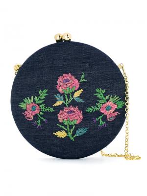 Embroidered shoulder bag Serpui. Цвет: синий