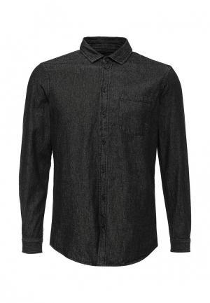 Рубашка джинсовая Piazza Italia. Цвет: черный