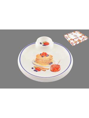 Тарелка для блинов Блины с банкой варенья Elan Gallery. Цвет: белый, желтый, красный, синий